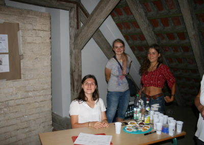 Malin, Alexandra und Elisa am Empfang